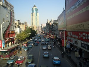 Busy City of Wuhan in China