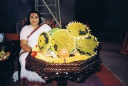 Shri Mataji experimented with sunflowers in her farmhouse in Pune, in the late 1980's, and produced tremendously big ones, more than 12 inches in diameter. They were very heavy and gave on the average 250 mm. of oil. This was reported in the newspaper. The photo shows Shri Mataji with the outsize sunflowers.