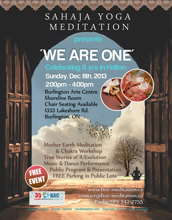 """""""We Are One"""" 8th Anniversary Free Meditation Event in Burlington, Ontario"""